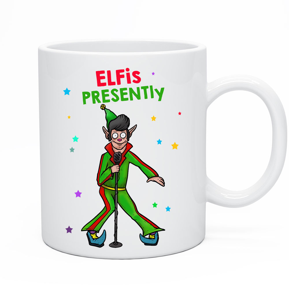 Funny Christmas Mug Elvis Elf Coffee Cup