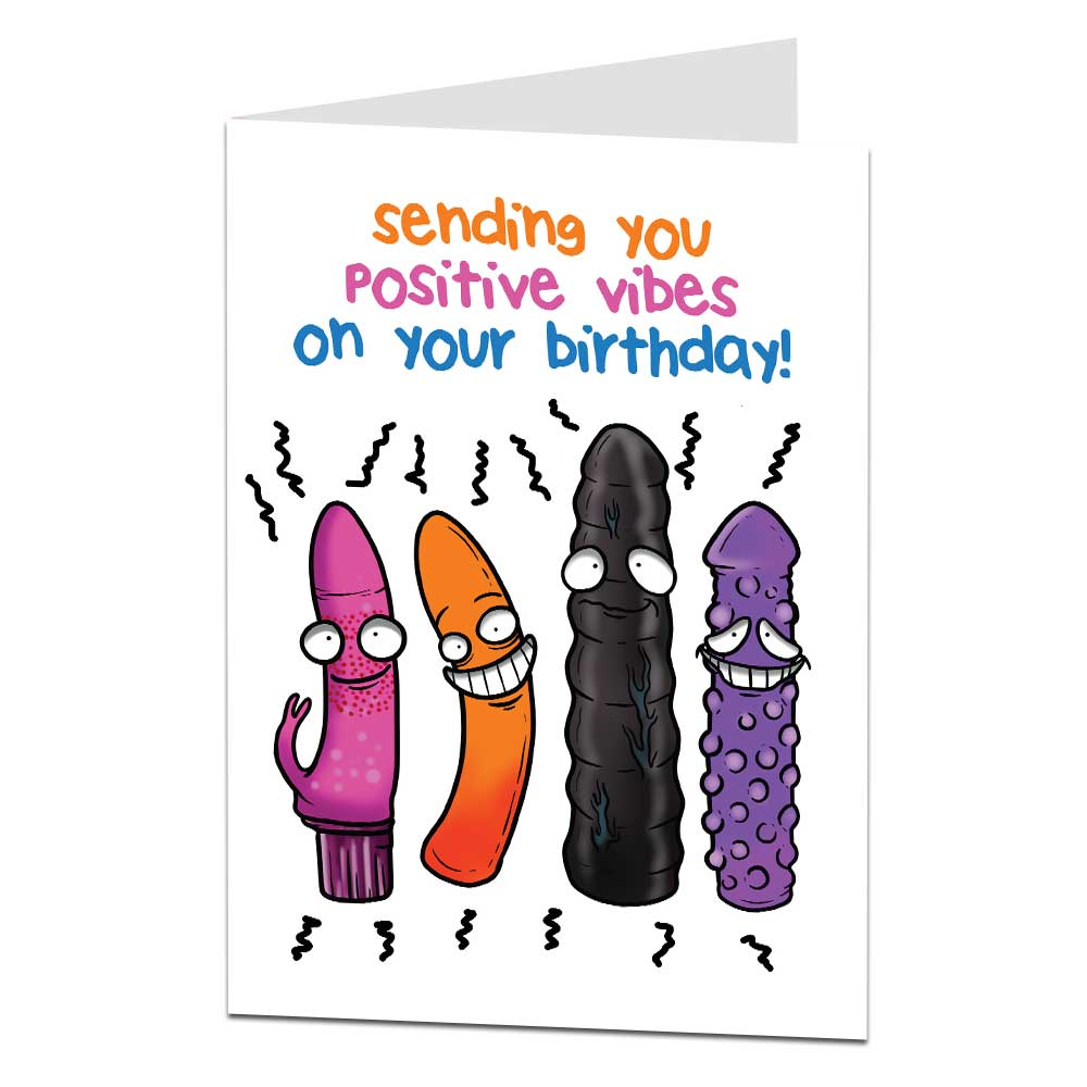 Positive Vibes Vibrator Birthday Card