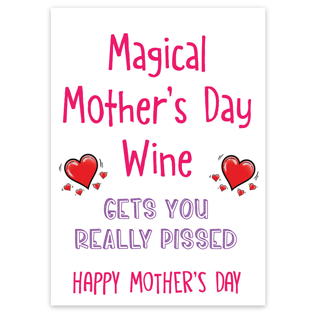 funny mothers day wine bottle label