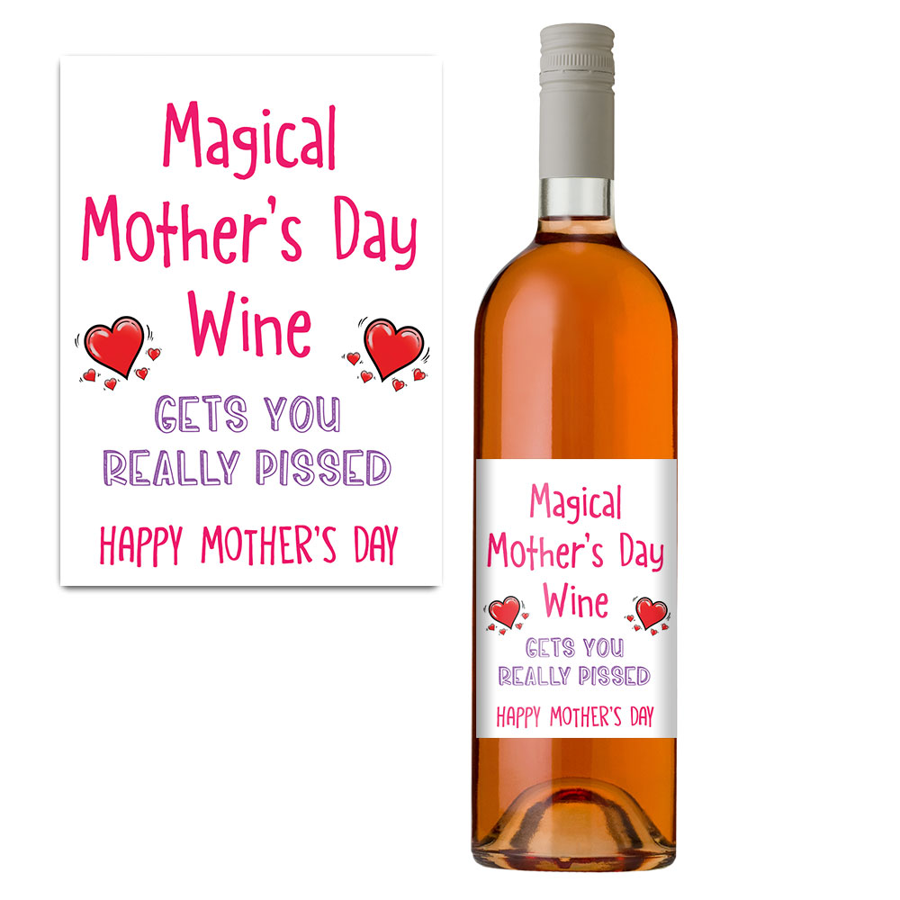 magical mothers day wine bottle label