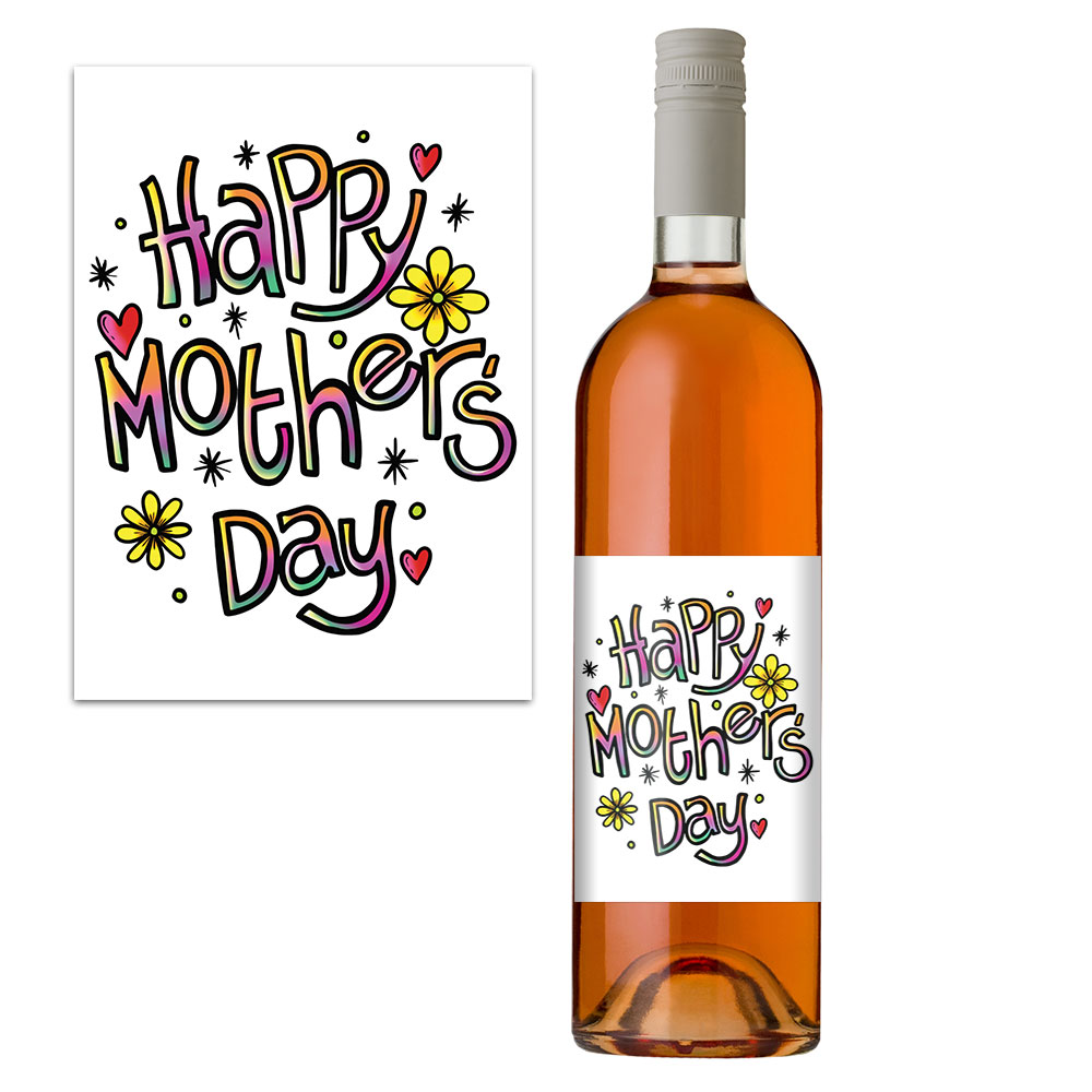 mothers day wine bottle label