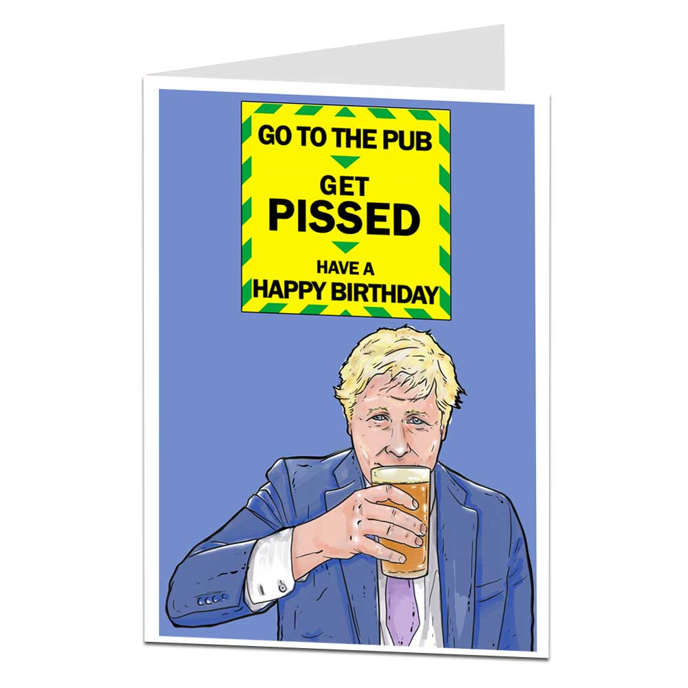 Boris Go To The Pub Card