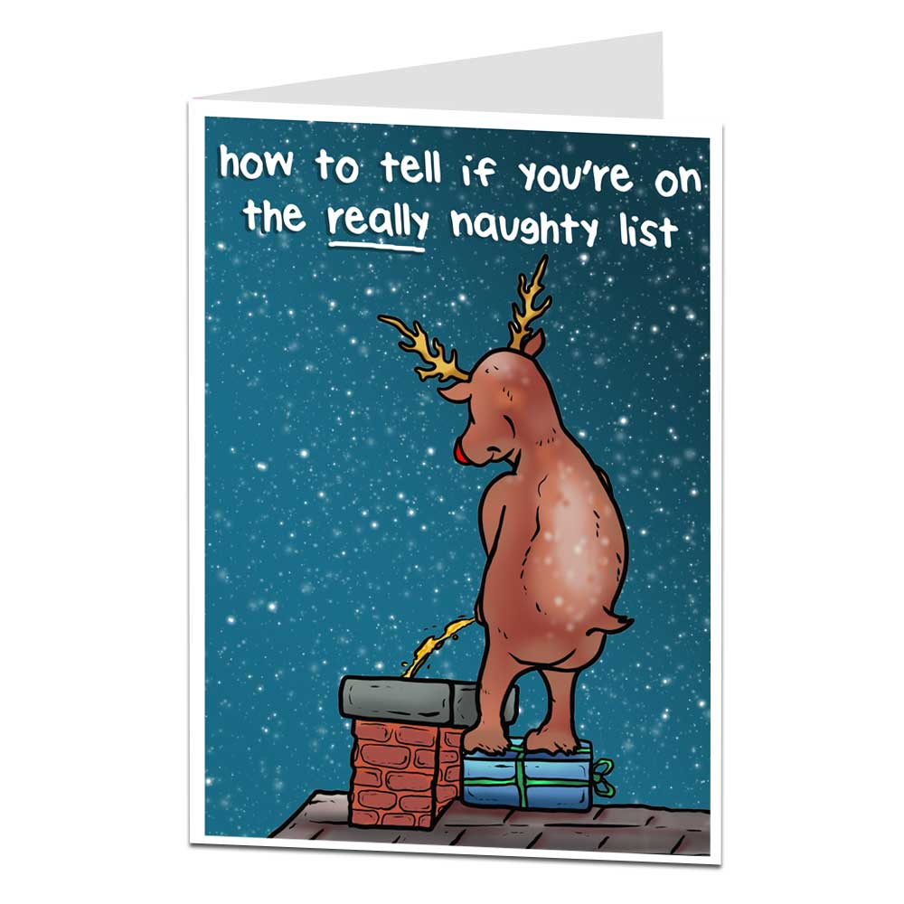 Rudolph Naughty List Christmas Card
