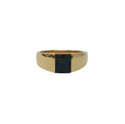9ct yellow gold Opal signet ring_0