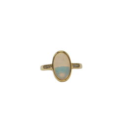 14ct yellow gold solid Opal and diamond ring 2.24ct 0.09ct_0