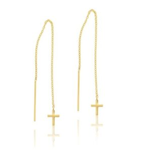 9k Yellow Gold Thread Drop Cross Earrings_0