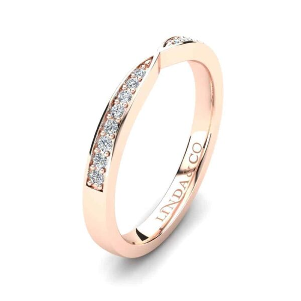 Diamond Essentials 18k Rose Gold Pinched Pave Set Band_1