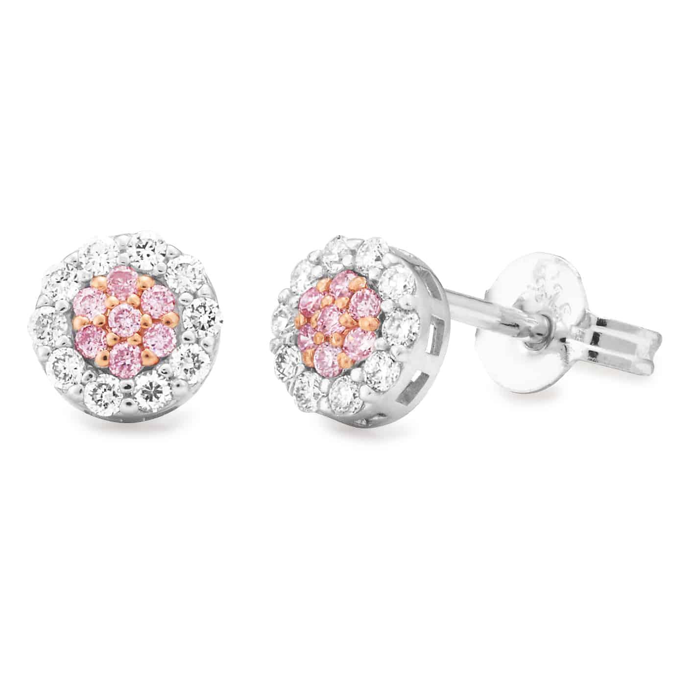 9ct White Gold Cluster Set Pink Argyle Diamond earrings_0