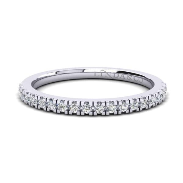 Diamond Essentials 18k White Gold Claw Set Thin Profile Band_0