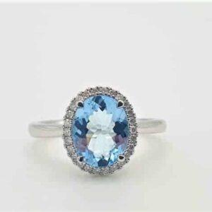 Oval Cut Aquamarine & Diamond Cocktail Ring_0