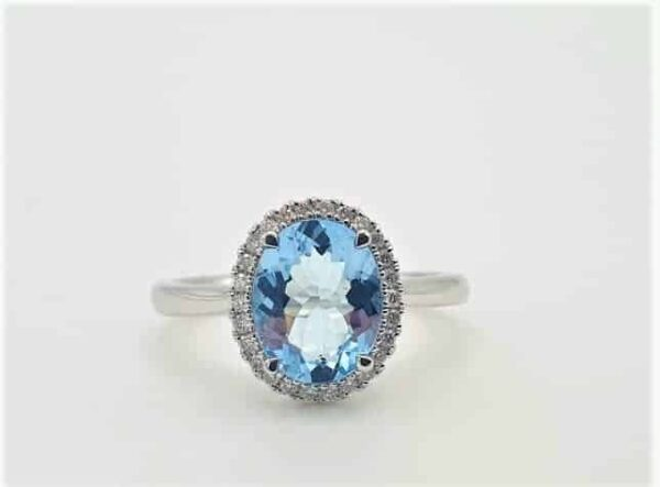 Oval Cut Aquamarine & Diamond Cocktail Ring_0