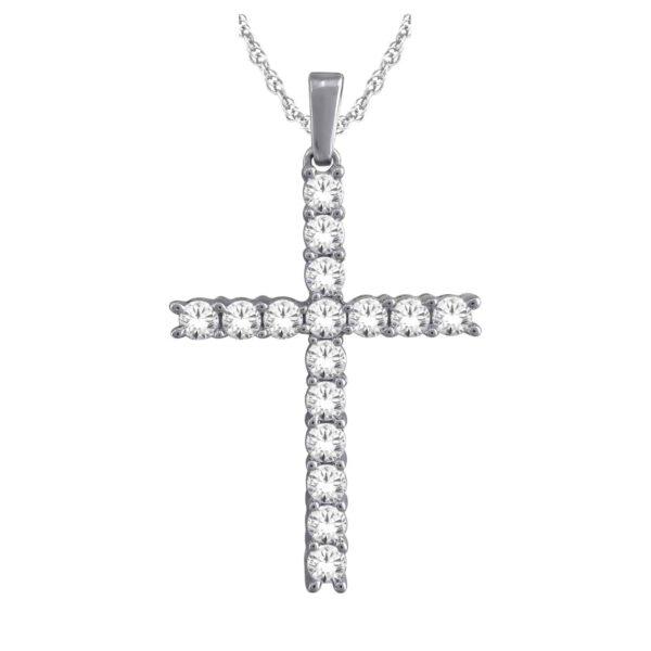 White Gold Diamond Cross Pendant 1.00ct_0