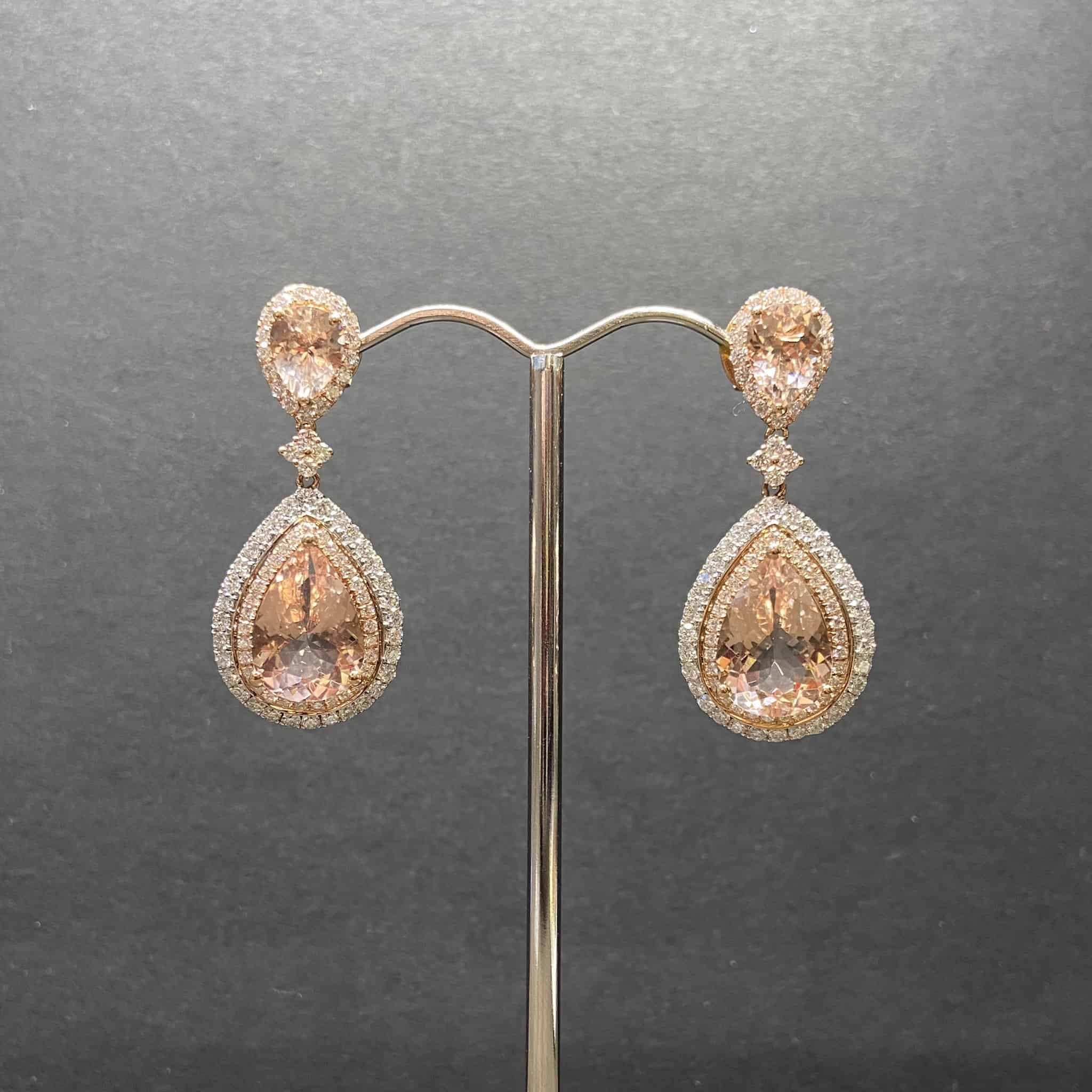 18ct White and Rose Gold Double Halo Pear Morganite Earrings._0