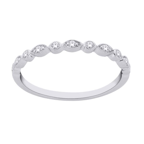 White Gold Round Brillant Cut Diamond Stackable Bands_0