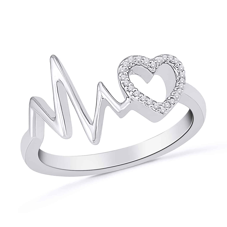 White Gold Diamond Heart Beat Ring_0