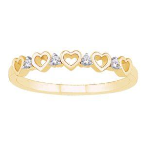 Yellow Gold Diamond Heart Ring_0