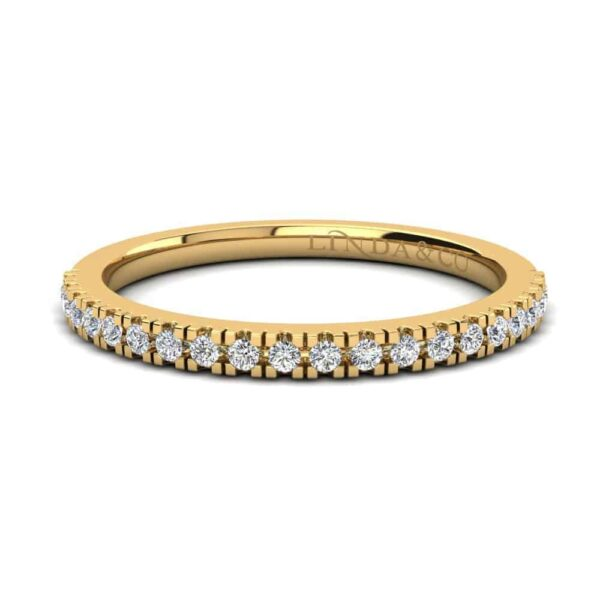 Diamond Essentials 18k Yellow Gold Claw Set Thin Profile Band_0