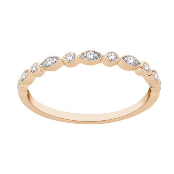 Yellow Gold Round Brillant Cut Diamond Stackable Bands_0