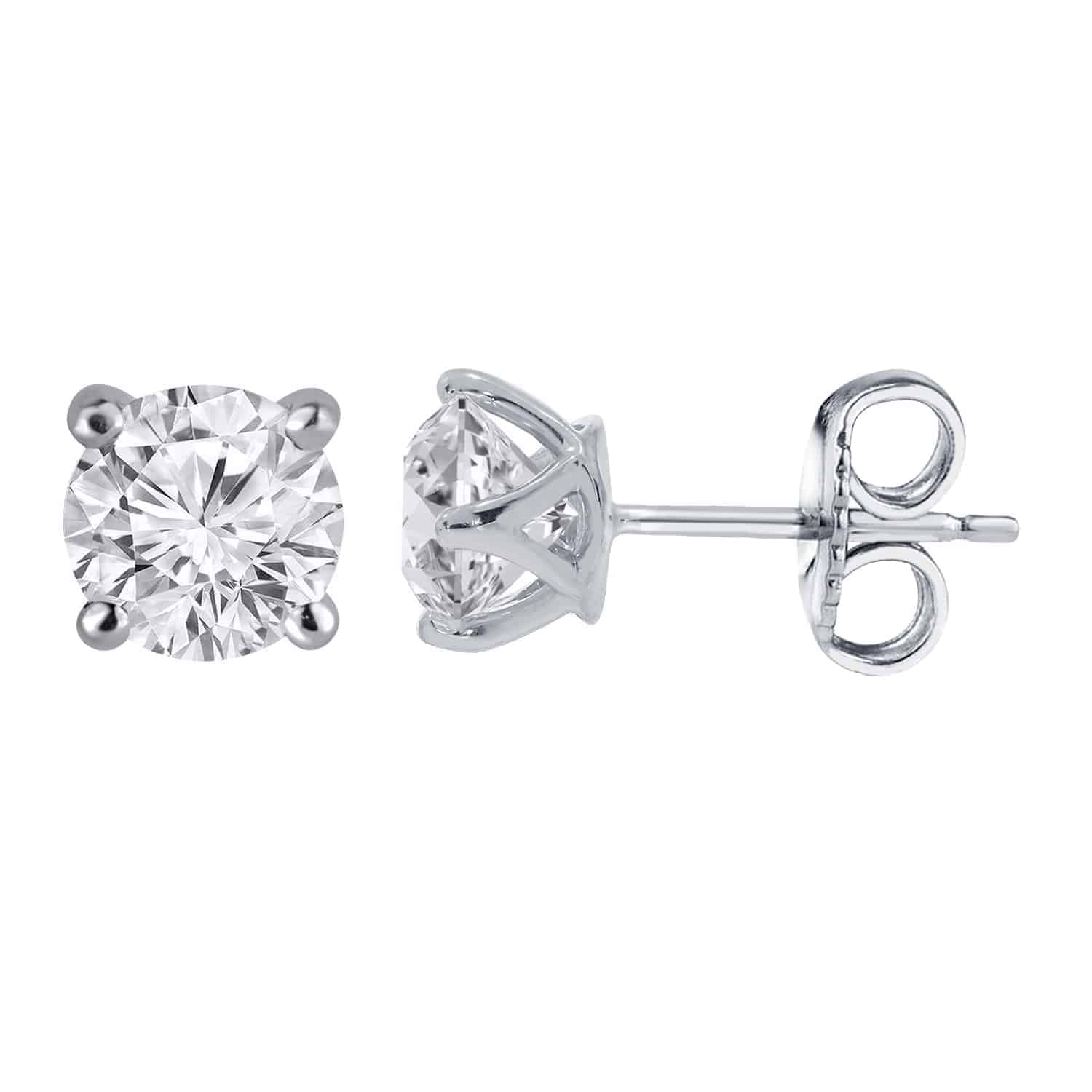 14k White Gold Claw Stud Earrings 1.00ct_0