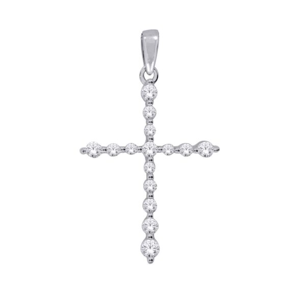 White Gold Round Brilliant Cut Diamond Cross Pendant_0