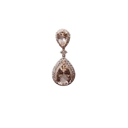 18ct White and Rose Gold Double Halo Pear Pendant_0