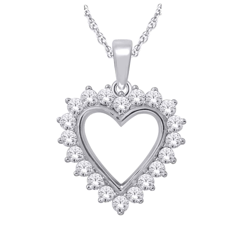 White Gold Diamond Heart Pendant_0