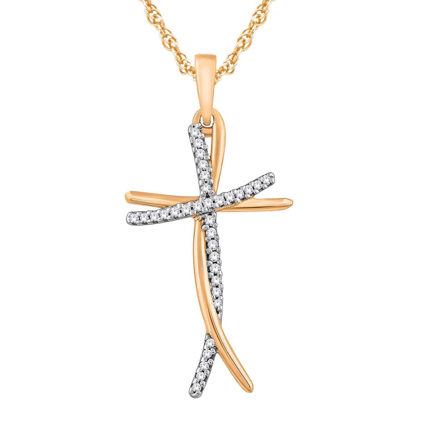 White and Rose Gold Diamond Cross Pendant_0