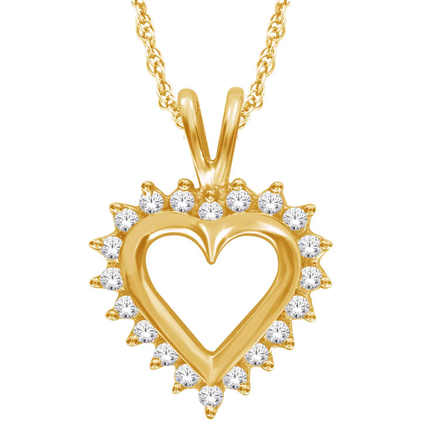 Yellow Gold Diamond Heart Shaped Pendant_0
