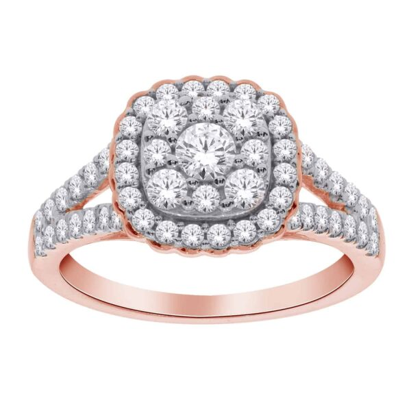 Rose Gold Round Brilliant Cut Cluster Halo Ring_0
