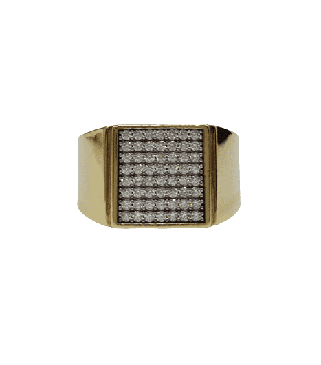 9CT yellow gold crystal signet gents ring_0