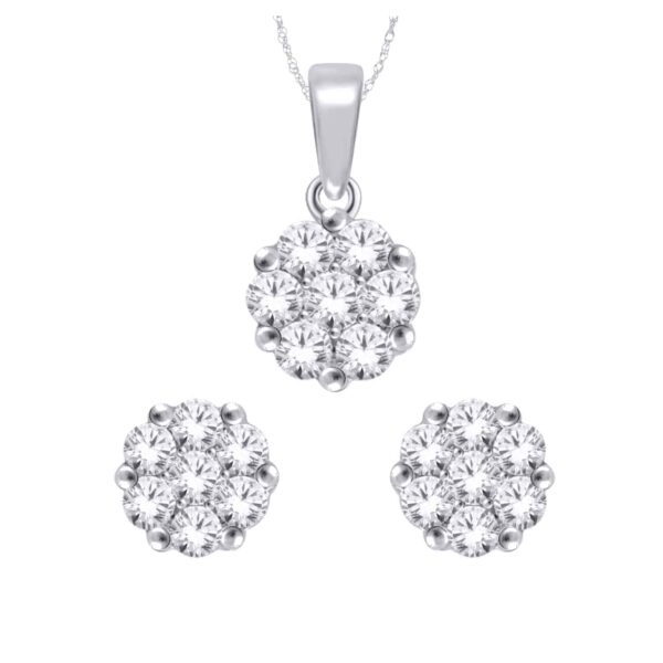 White Gold Round Brilliant Cut Diamond Cluster Pendant and Earring Set_0