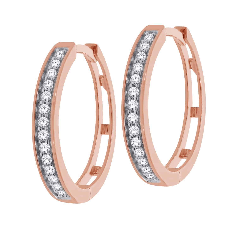 Rose Gold Diamond Round Hoop Earrings_0