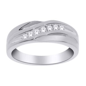 White Gold Gents Diamond Band_0