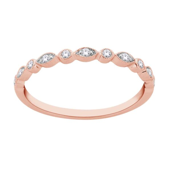 Rose Gold Round Brillant Cut Diamond Stackable Bands_0