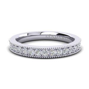 Diamond Essentials 18k White Gold Pave Milgrain Diamond Band_0