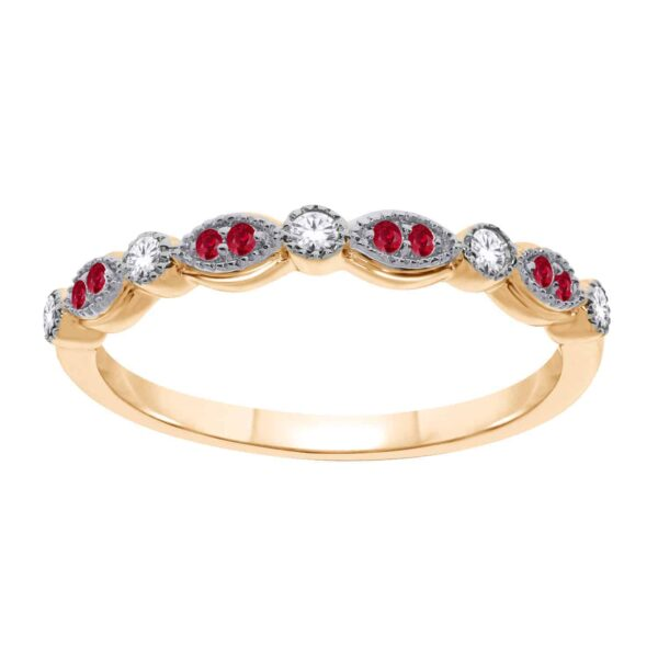 Yellow Gold Ruby & Diamond Band_0