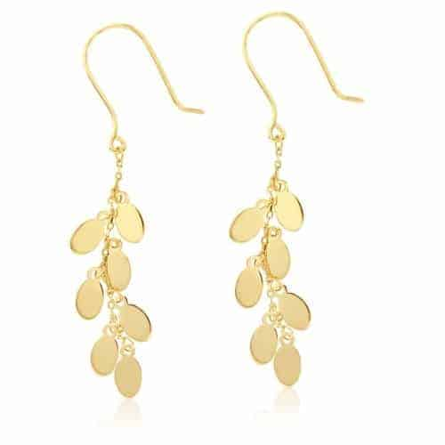 9k Yellow Gold Drop Earrings with Polished Oval Petals_0