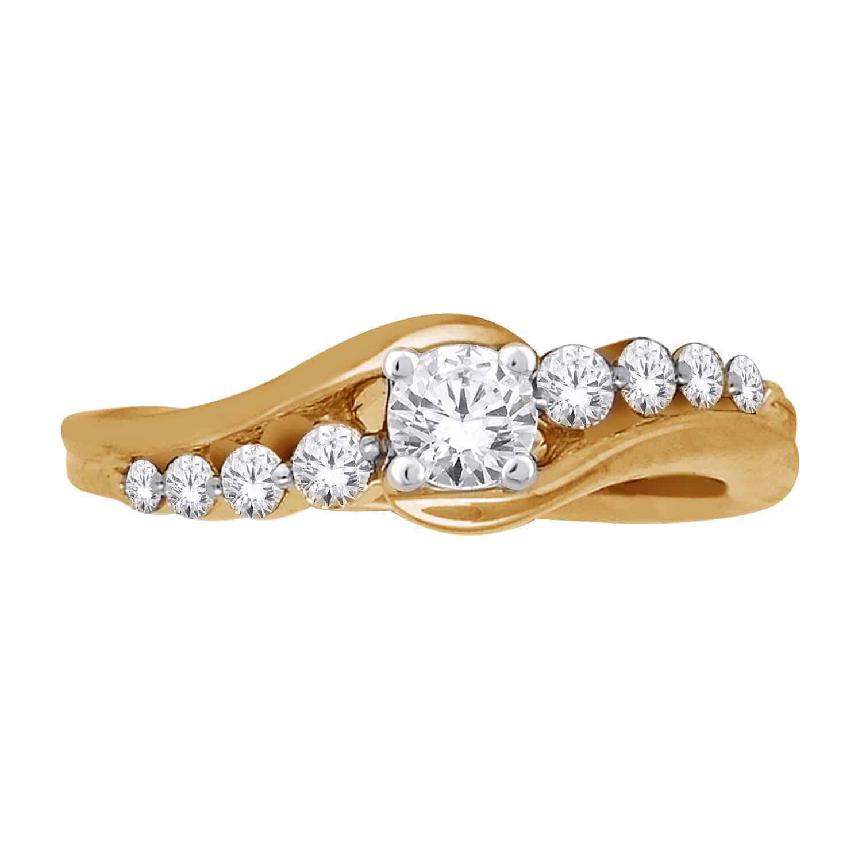 Yellow Gold Round Cut Swirl Diamond Ring_0