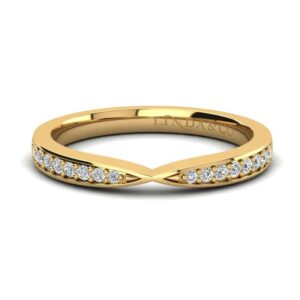 Yellow Gold Pinched Diamond Wedding Band