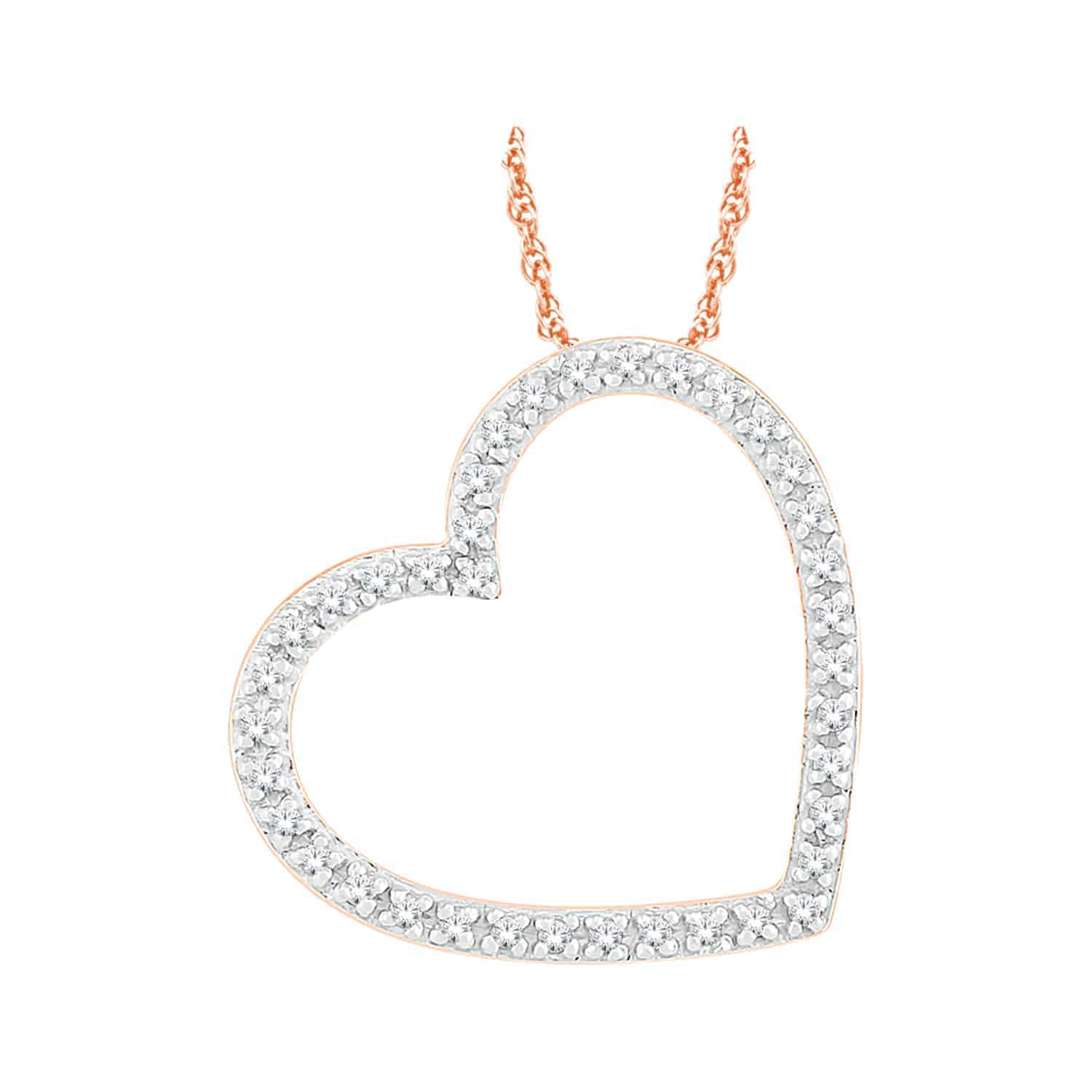 Rose Gold Diamond Heart Diamond Pendant_0