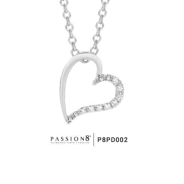 Passion White Gold Diamond Offset Heart Pendant_0