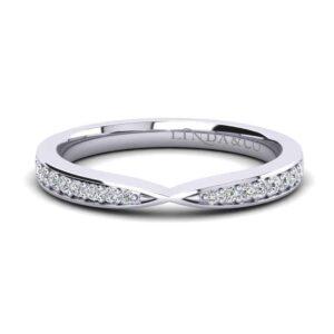 Diamond Essentials 18k White Gold Pinched Pave Set Diamond Wedding Band