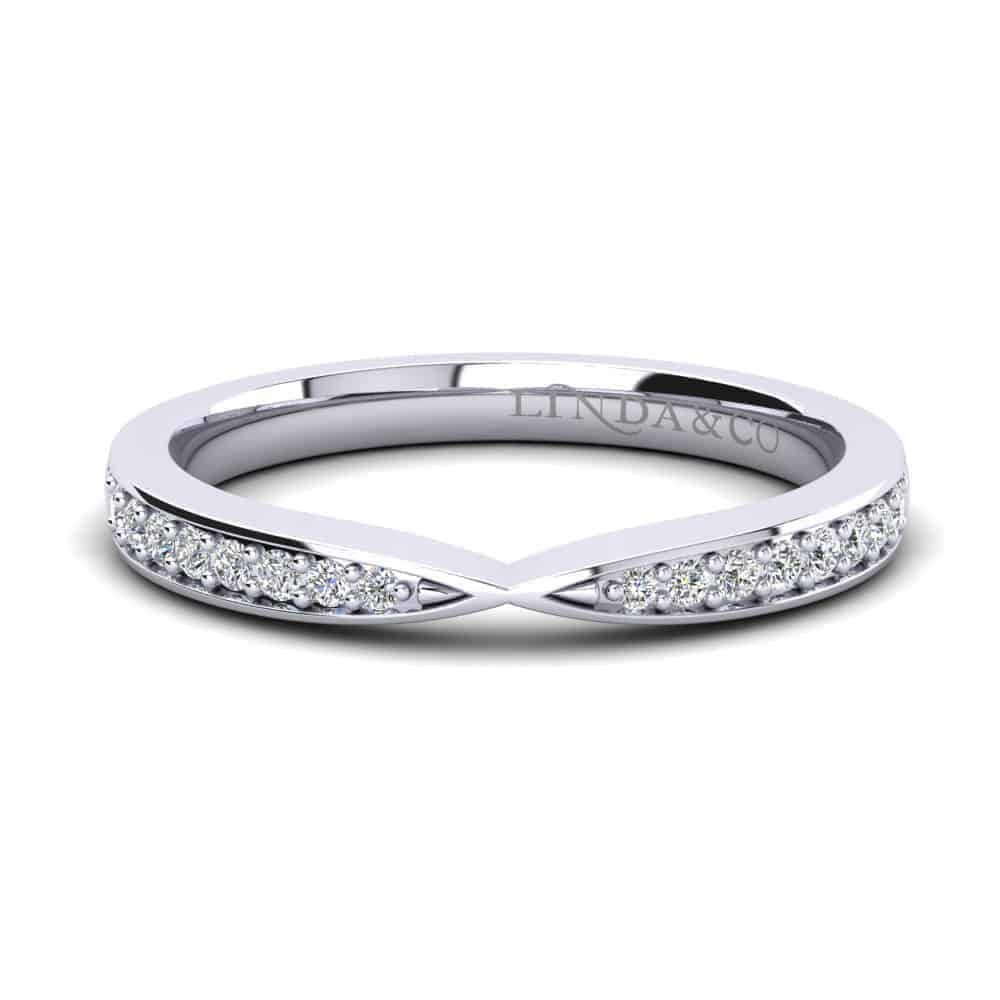 Diamond Essentials 18k White Gold Pinched Pave Set Diamond Wedding Band