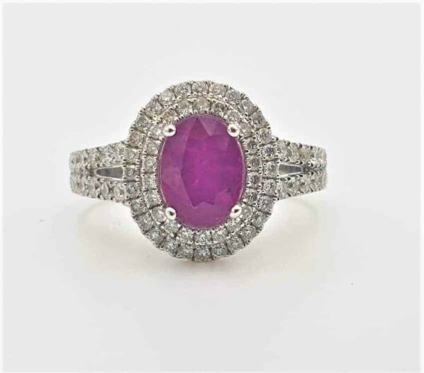 Oval Cut Ruby & Double Halo Diamond Ring_0
