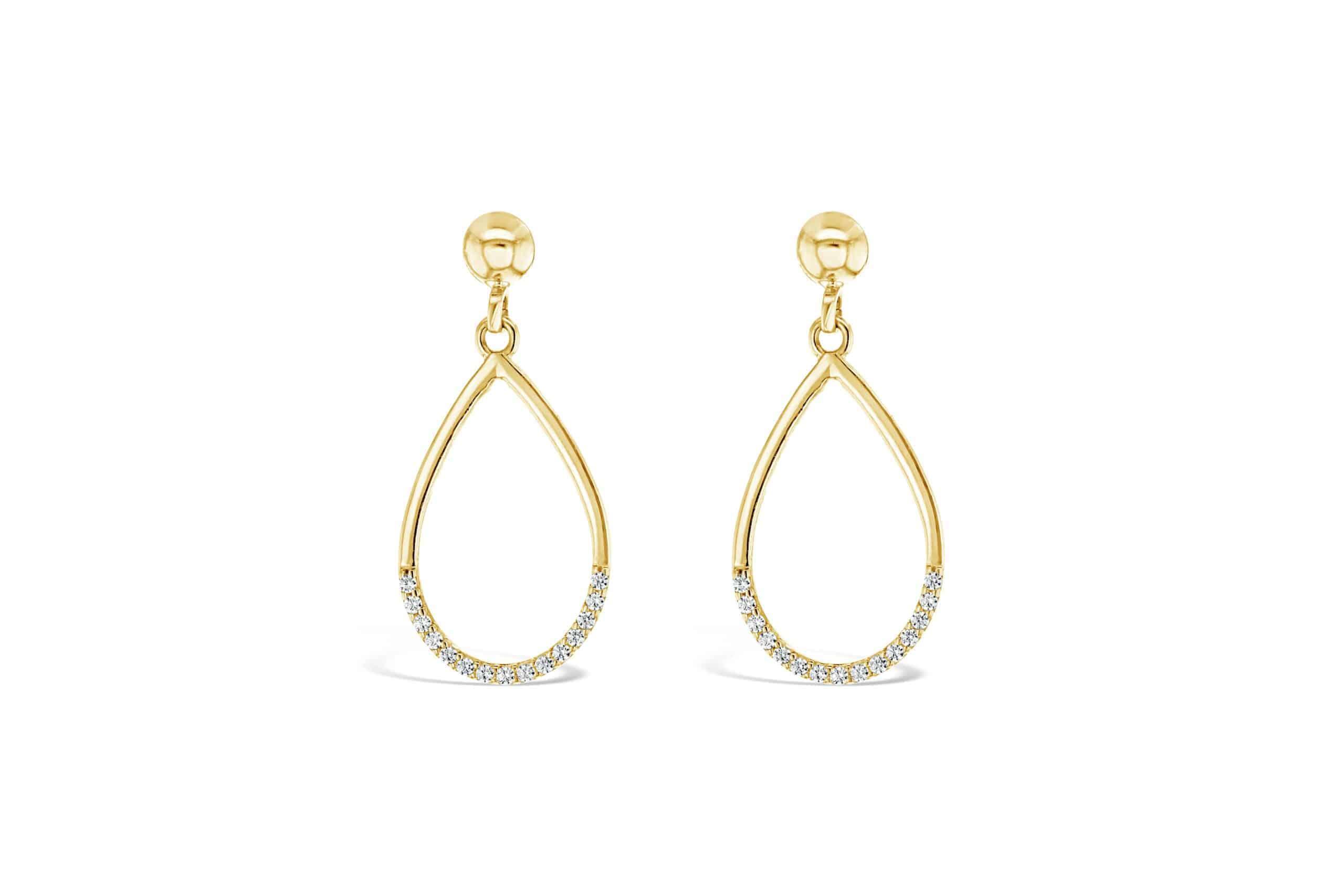 9k Yellow Gold Tear Drop Earrings_0
