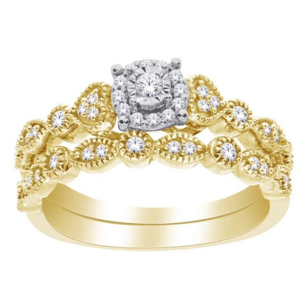 Yellow And White Gold Round Brilliant Cut Vinatge Bridal Set_0