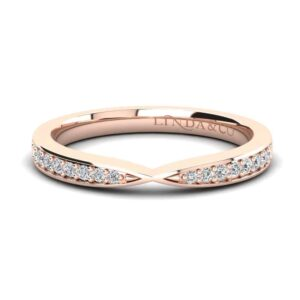 Diamond Essentials 18k Rose Gold Pinched Pave Set Wedding Band