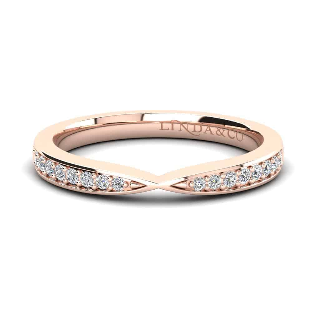 Diamond Essentials 18k Rose Gold Pinched Pave Set Band_0