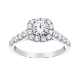 White Gold Round Brillant Cut Halo Engagement Ring_0