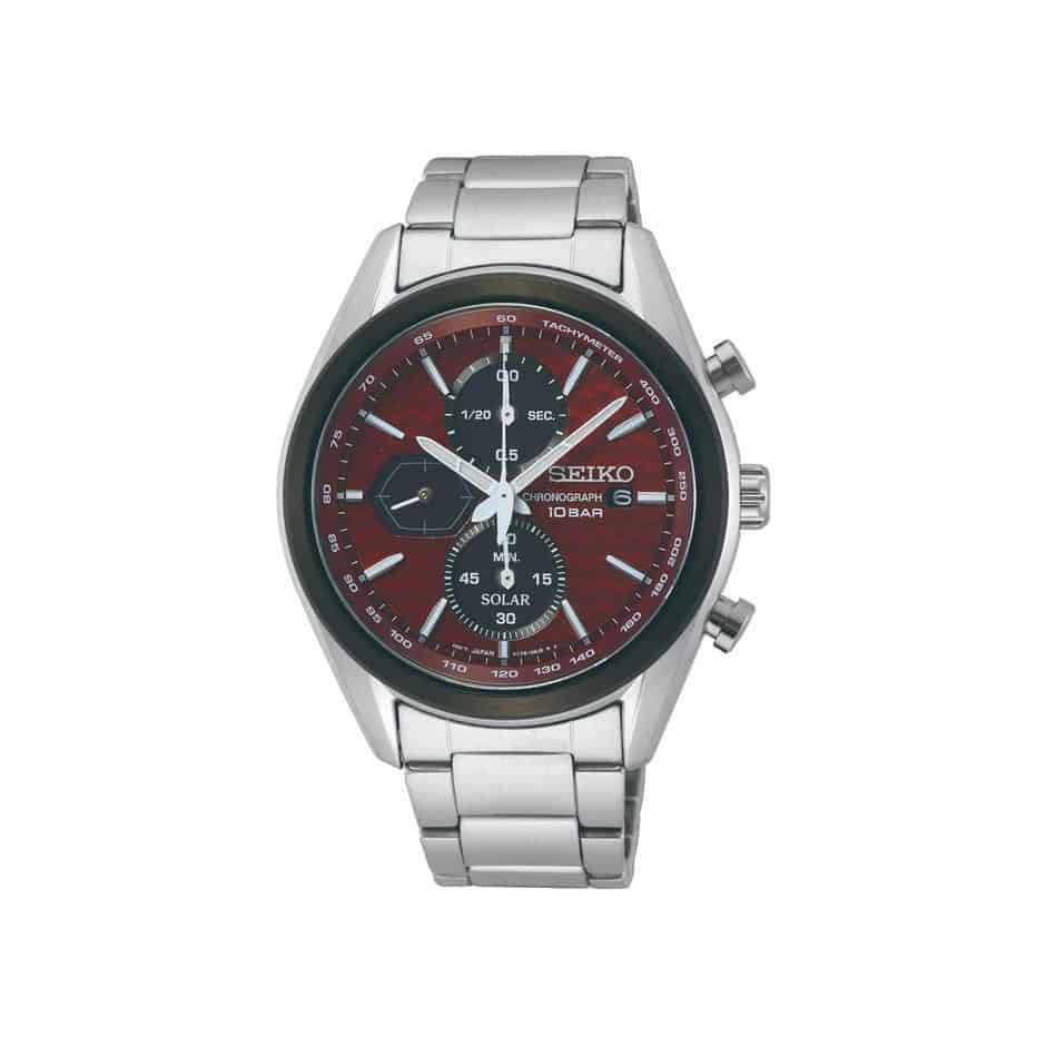 Case Material: Stainless Steel Water Resistance: 100 Metres Case Size: 41.2 Dial Colour: Red Band Colour: Silver Case Colour: Silver & Black Band Bracelet: Bracelet - Stainless Steel Glass Type: Sapphire Glass 5 Years warranty_0